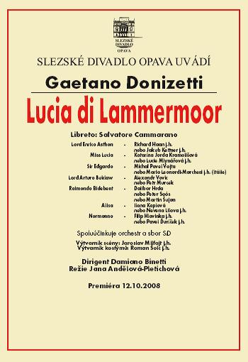 Gaetano Donizetti - LUCIE Z LAMMERMOORU - plakát